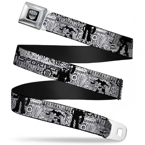 Transformers Autobot Logo Black Silver Transformers Tag Black White Red Seatbelt Belt