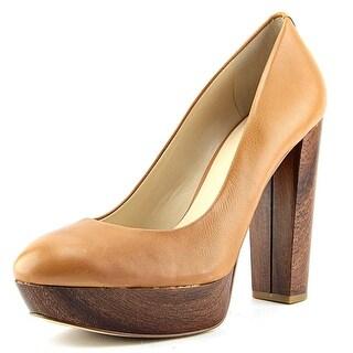 Guess Padey Women Open Toe Leather Tan Platform Heel