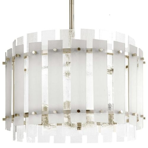 "Park Harbor PHPL5504 Brushed Nickel Sea Glass 9"" Wide Single Light Mini Pendant with Frosted Seeded Glass Panels"