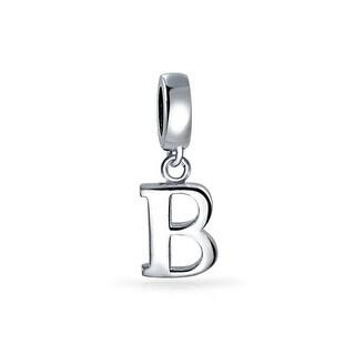 Bling Jewelry 925 Sterling Silver Alphabet Block Letter B Dangle Bead