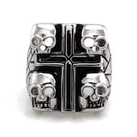 Stainless Steel Four Headed Biker Skull Ring