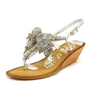 Naughty Monkey Grand Delight Women Open Toe Leather Silver Wedge Sandal