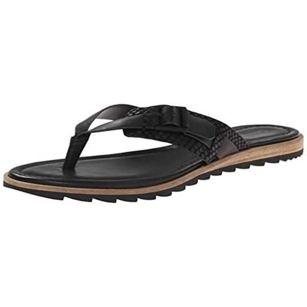 Calvin Klein Womens Opel Flip-Flops Leather Buckle