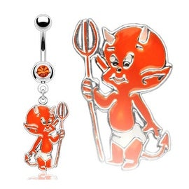 Navel Belly Button Ring with 1-Gem with Orange Baby Devil (Sold Ind.)
