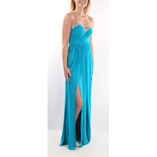 Womens Turquoise Sleeveless Full Length Empire Waist Formal Dress Size: 3
