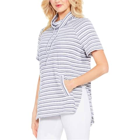 Vince Camuto Womens Variegated Stripe Knit Blouse, blue, Small