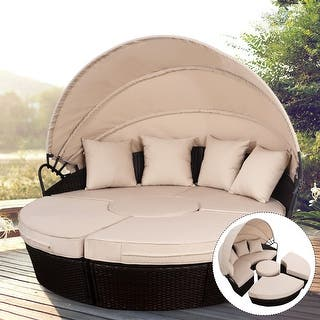 Costway Rattan Sofa Furniture Round Retractable W Canopy Daybed Outdoor Brown