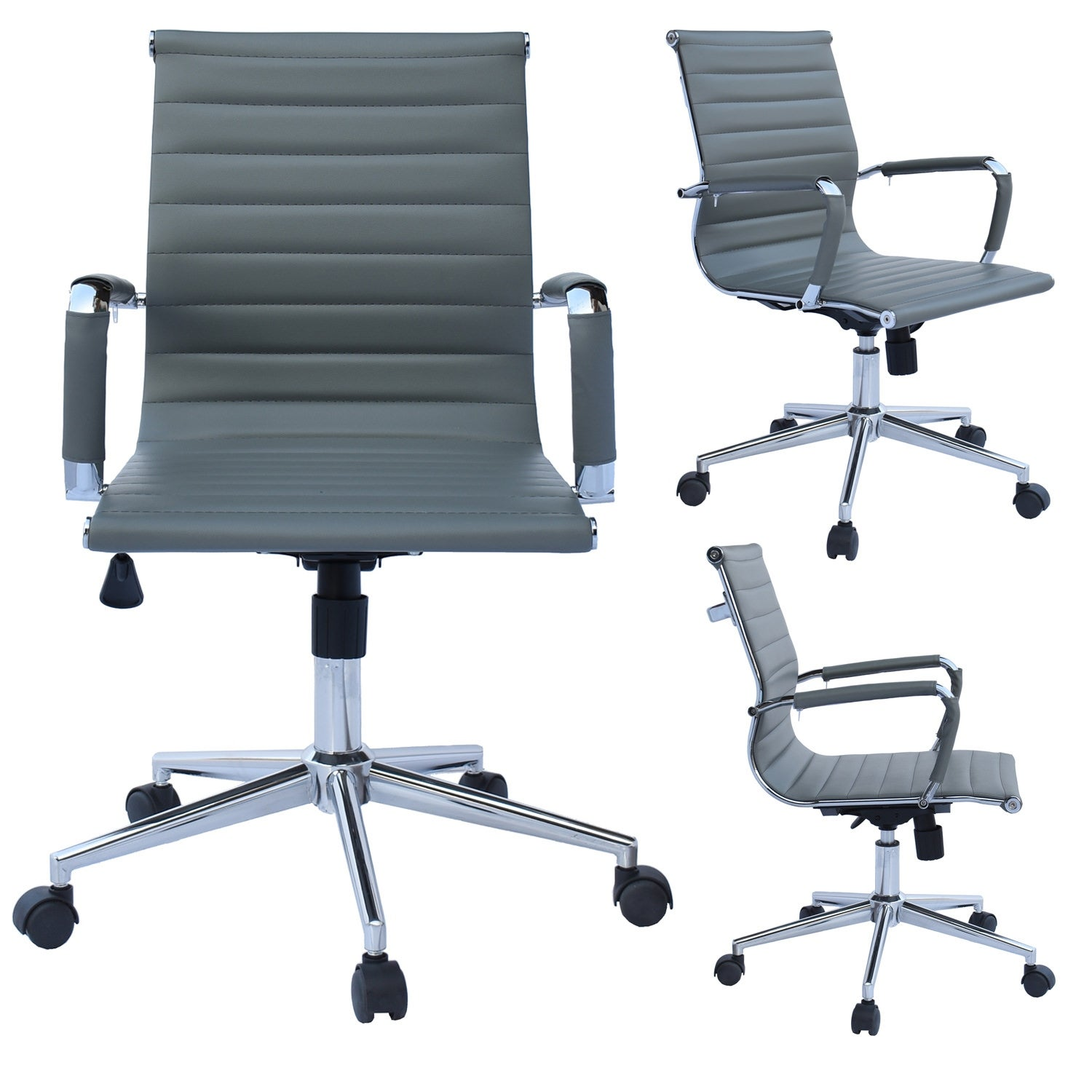 Shop Black Friday Deals On Mid Century Office Chair With Wheels Ergonomic Executive Pu Leather Arm Rest Tilt Adjustable Height Swivel Task Computer Gray Overstock 26234319