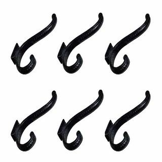 6 Hook Wrought Iron Black 4 Double