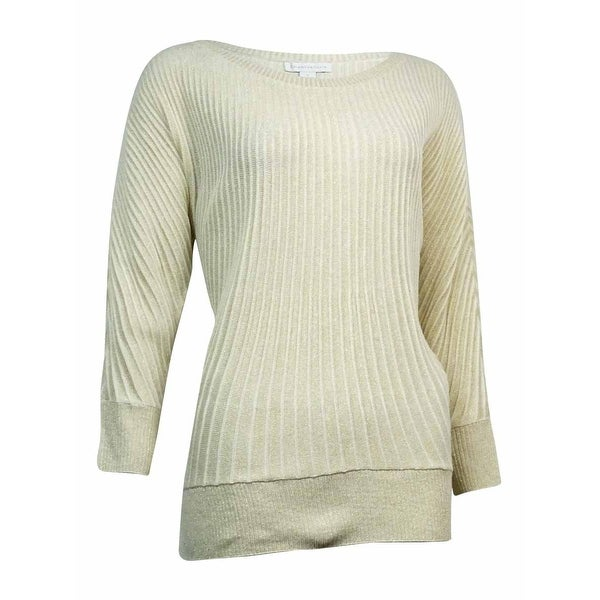 Shop Charter Club Womens Metallic Ribbed Dolman Sweater Gold