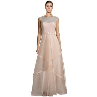 Teri Jon Bead Embellished Tulle Evening Ball Gown Dress - 2