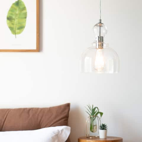 CO-Z 1-Light Industrial Pendant Light with Glass Shade