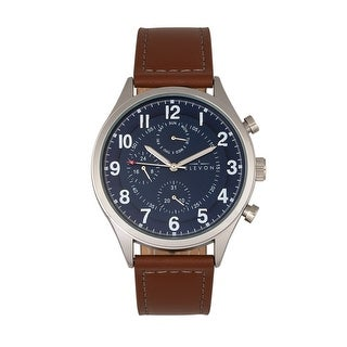 Elevon Lindbergh Leather-Band Watch w/Day/Date - Brown/Navy