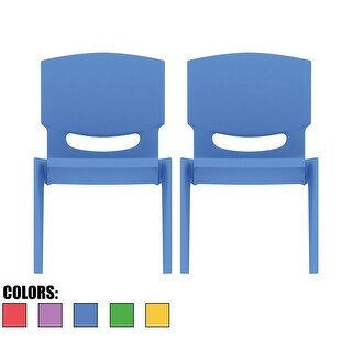 """2xhome Set of 2 Blue Kids Stackable Plastic Chair Side Chairs 10"""" Seat For Activity Table Preschool Daycare Child Toddler Indoor"""