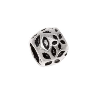 Sterling Silver Embossed Daisy Bead - Large Hole - 9x7mm