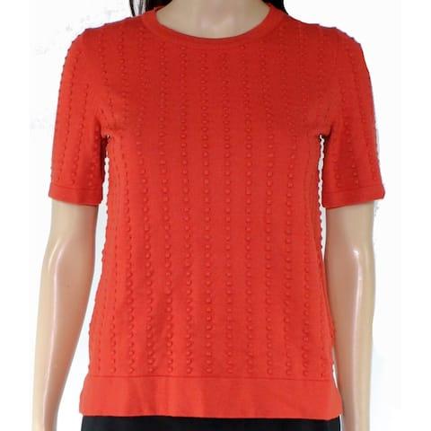 Catherine Malandrino Womens Knit Top Orange Size XS Sweater Textured