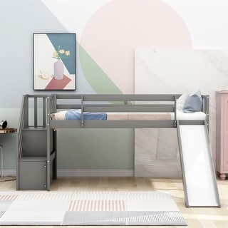 Merax Twin Low Loft Bed with Slide and Storage Staircase for Kids