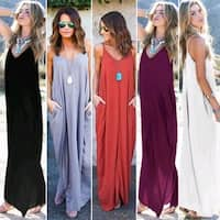 Women Fashion Hot Loose Long Harness Dress Pockets Evening Party Maxi Dress