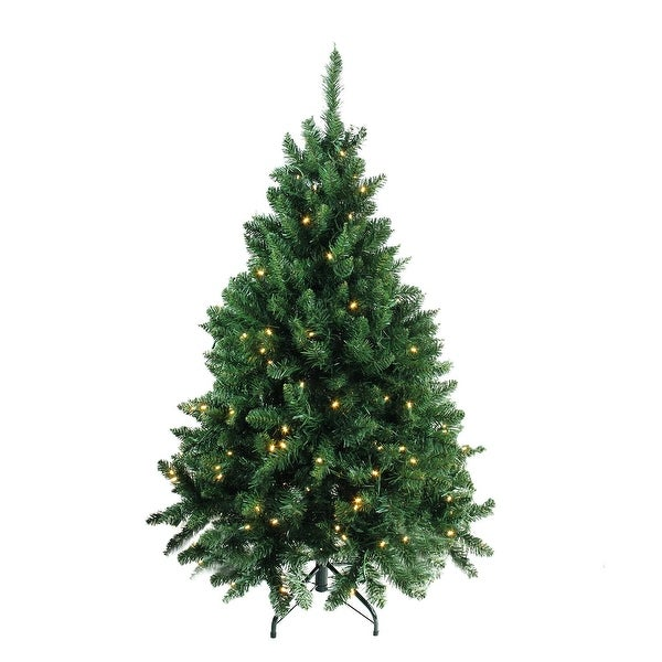 "4.5' x 37"" Pre-Lit Buffalo Fir Medium Artificial Christmas Tree - Warm White LED Lights - green"