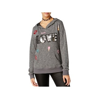 Miss Chievous Womens Juniors Hoodie Embroidered Sequined