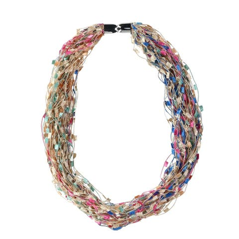 CTM® Women's Multi-Color Layered Scarf Necklace with Magnetic Closure - one size