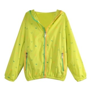 Richie House Little Girls Yellow Zip Animal Print Jacket 3-7