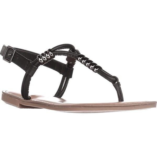 B35 Vortext T-Strap Flat Sandals, Black