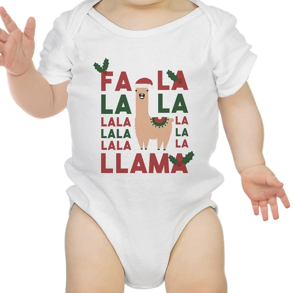 Falala Llama Cute Holiday Infant Bodysuit Gift White Cotton Romper