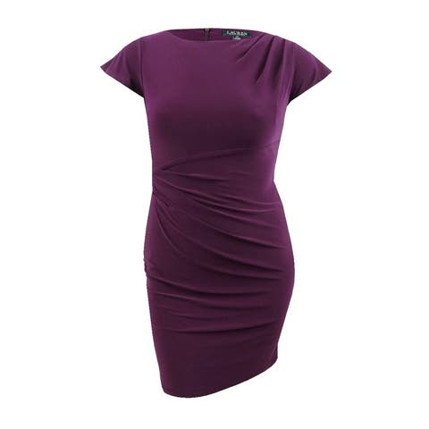 Lauren by Ralph Lauren Women's Petite Flutter-Sleeve Dress (12P, Passion Plum) - Passion Plum - 12P