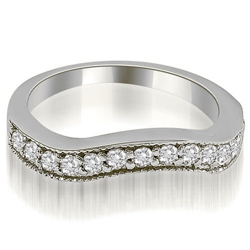 0.50 cttw. 14K White Gold Curved Round Cut Diamond Wedding Ring