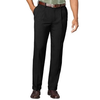 Van Heusen Big and Tall Extender Pleated Front Dress Pants Black 50W x 30L - 50