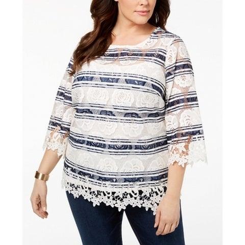 Charter Club White Women's Size 2X Plus Floral Lace Stripe Blouse