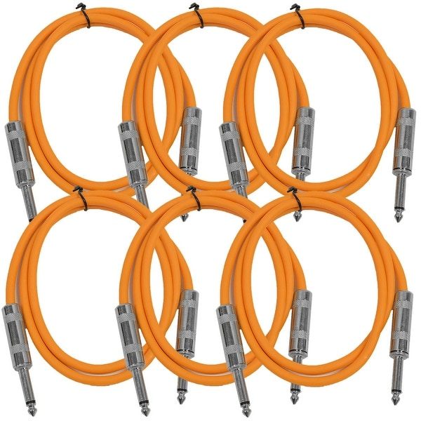 "SEISMIC AUDIO 6 PACK Orange 1/4"" TS 3' Patch Cables - Guitar - Instrument"