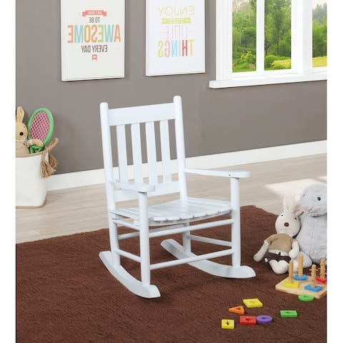 Evenly Slat Back Wooden Youth Rocking Chair