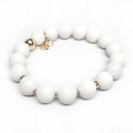 White Jade 'Sophia' Stretch Bracelet, 14k over Sterling Silver