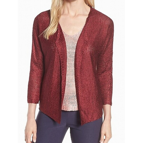 Nic + Zoe Red Womens Size Large L Open-Front Cardigan Sweater
