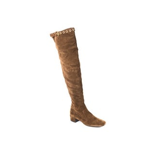 Car Shoe Womens Brown Grommet Buckled Knee-High Suede Boots