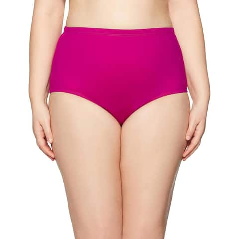 La Blanca Plus Size High-Waist Island Goddess Swimsuit Bottom 20W Magenta Purple
