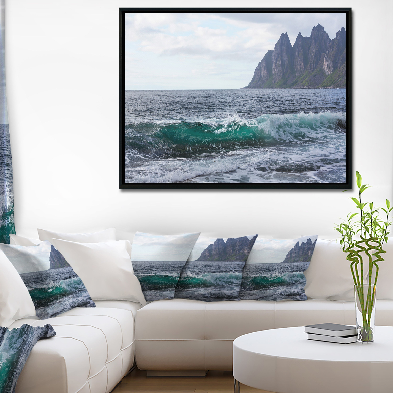 Designart Beautiful Lofoten Island Norway Large Seashore Framed Canvas Print Overstock 18958967