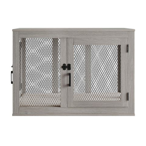 Penn-Plax Modern and Sophisticated Dog Crate - Pet Furniture Designed as an End Table or Night Stand - Beautiful Driftwood Color