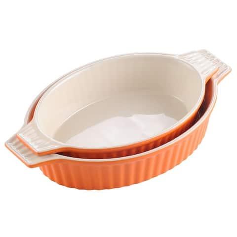 MALACASA, Series Bake.Bake, Ceramic Oval Baking Dish Bakeware Set of 2