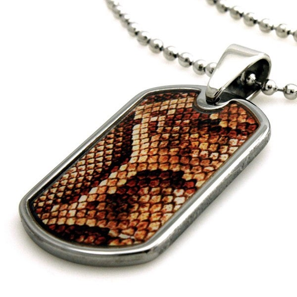 Tungsten Snake Anaconda Print Dog Tag ID Pendant - 24 inches