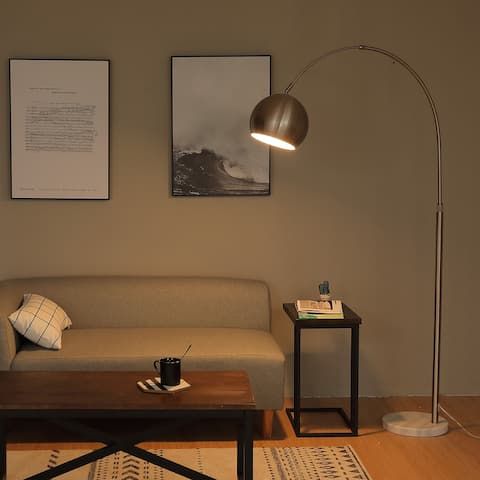 """CO-Z 70"""" Modern Adjustable Brushed Nickel Arc Floor Lamp with Marble base"""