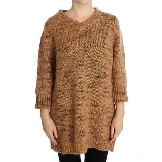 PINK MEMORIES Brown Wool Blend Knitted Oversize Sweater