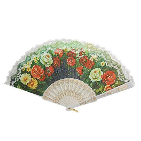 Unique Bargains White Flower Lace Rimmed Folding Hand Fan for Dancing