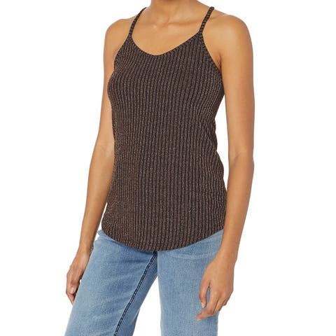 Angie Brown Womens Size Small S Shimmer Shiny Ribbed Knit Cami Top