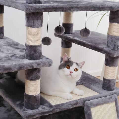 Winter Large Dangling Balls Cat Tree - Grey