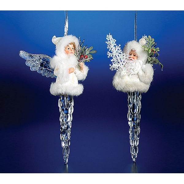 """Pack of 8 Icy Crystal Decorative Christmas Icicle Angel Ornaments 7"""""""