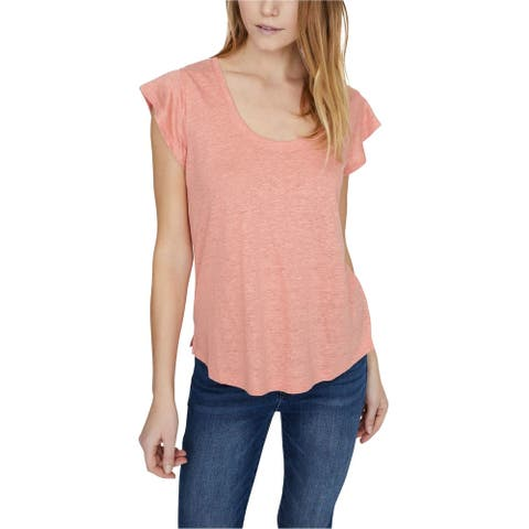 Sanctuary Clothing Womens Scoop Neck Basic T-Shirt, Pink, X-Large