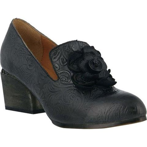 L'Artiste by Spring Step Women's Noora Heeled Loafer Charcoal Leather